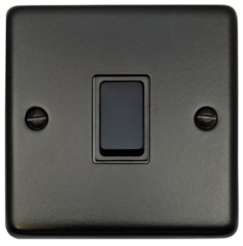 G&H CFB1B Standard Plate Matt Black 1 Gang 1 or 2 Way Rocker Light Switch